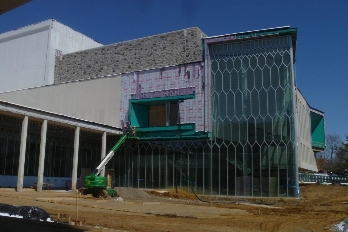 Curtain wall in progress