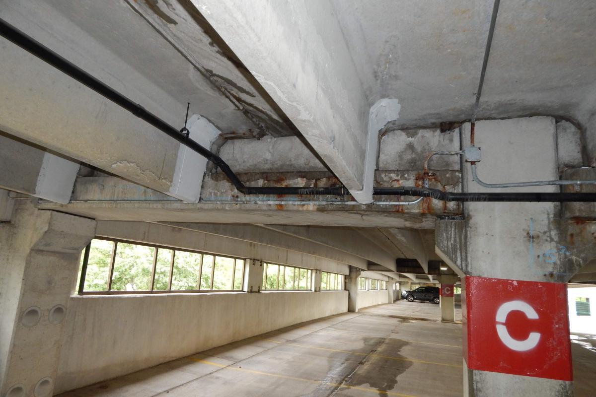 Damaged inverted tee beam