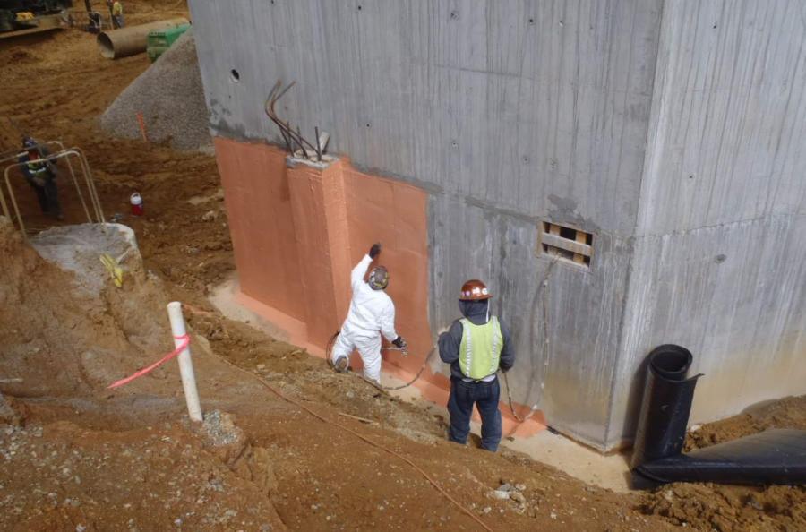 Waterproofing applied to below-grade foundation walls